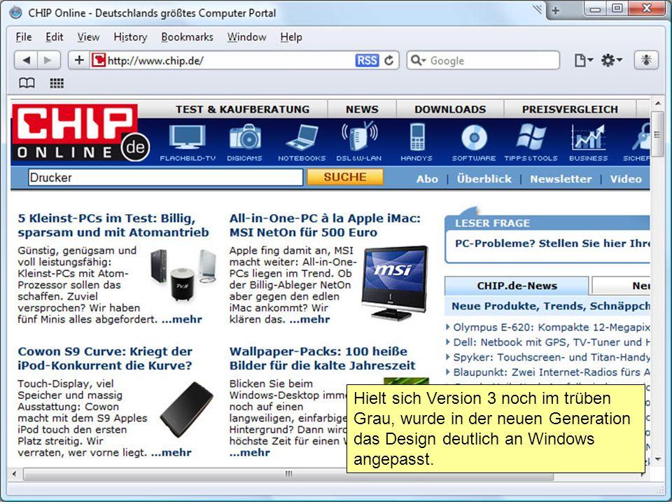 Hielt sich Version 3 noch im trüben Grau, wurde in der neuen Generation das Design deutlich an Windows angepasst.