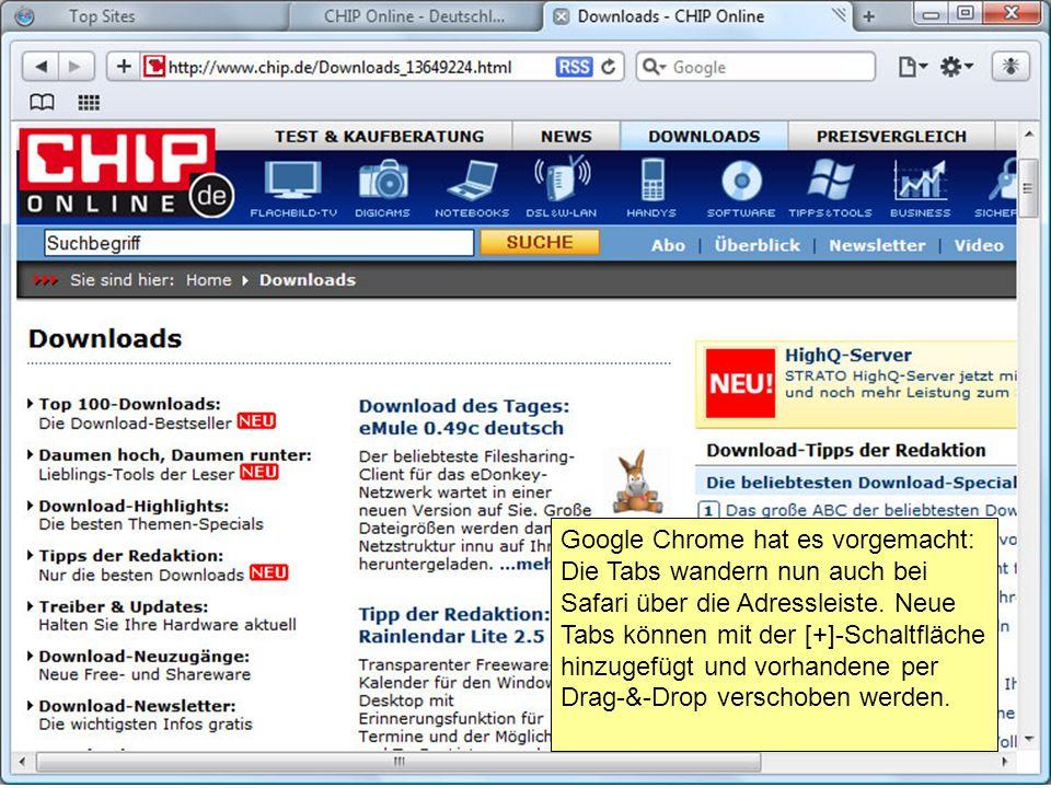 Google Chrome hat es vorgemacht: Die Tabs wandern nun auch bei Safari über die Adressleiste.