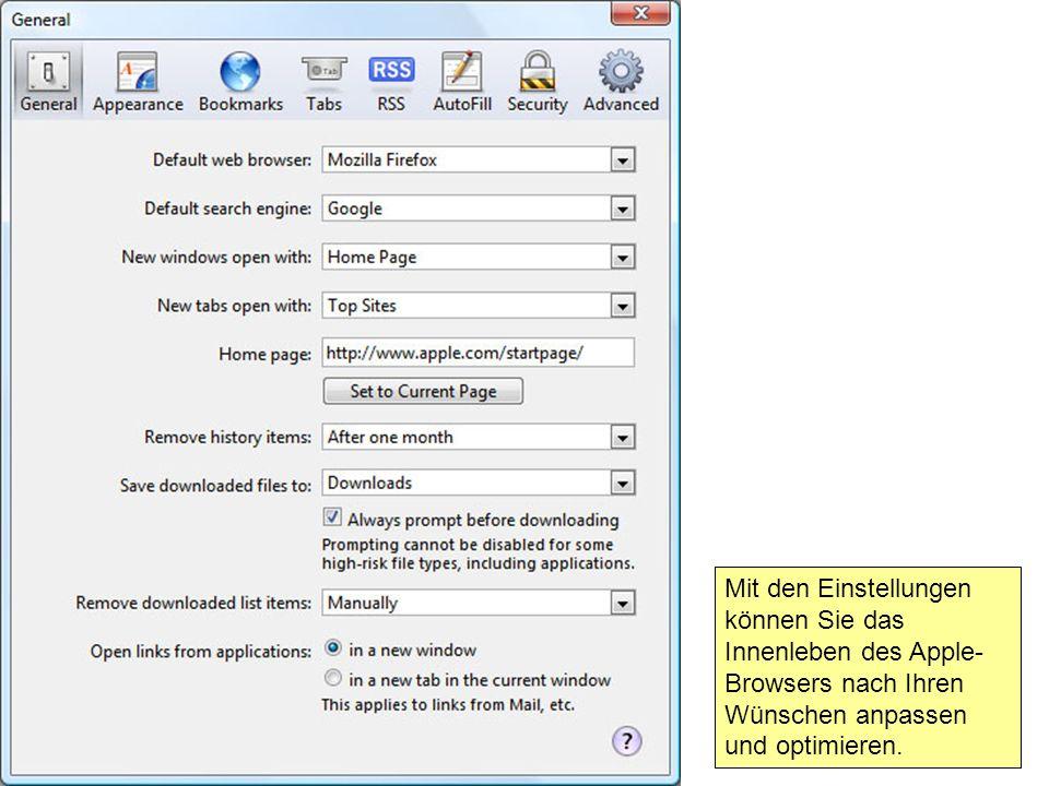 Mit den Einstellungen können Sie das Innenleben des Apple- Browsers nach Ihren Wünschen anpassen und optimieren.