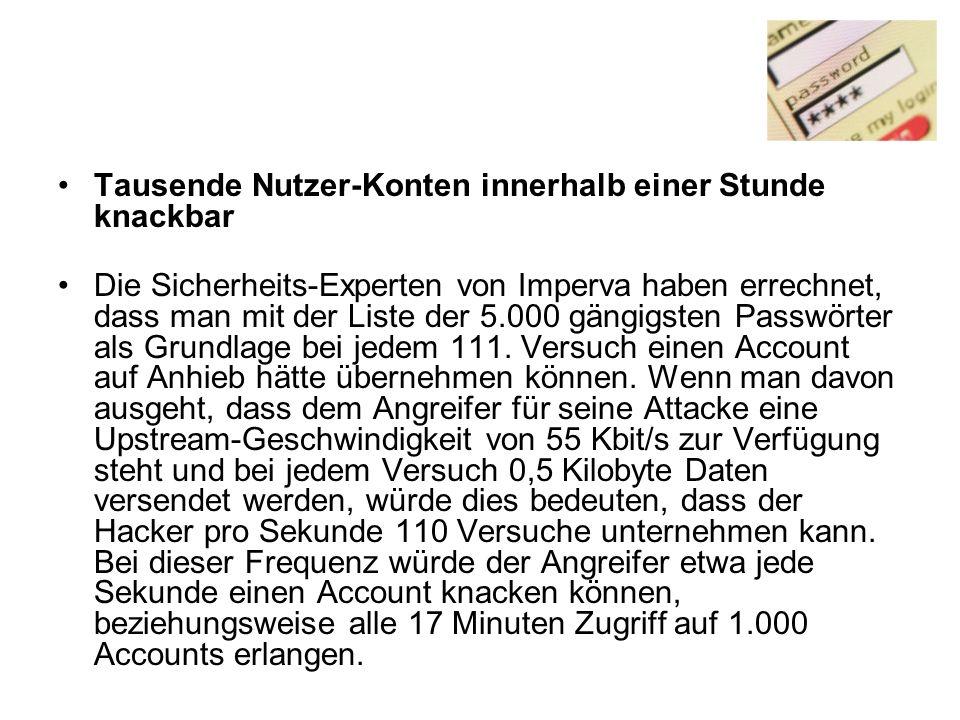 Tausende Nutzer-Konten innerhalb einer Stunde knackbar Die Sicherheits-Experten von Imperva haben errechnet, dass man mit der Liste der 5.000 gängigsten Passwörter als Grundlage bei jedem 111.