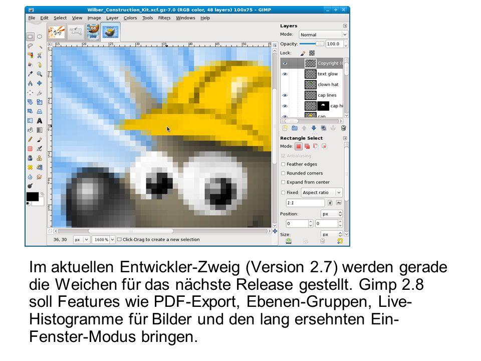 Im aktuellen Entwickler-Zweig (Version 2.7) werden gerade die Weichen für das nächste Release gestellt. Gimp 2.8 soll Features wie PDF-Export, Ebenen-