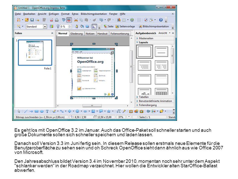 Es geht los mit OpenOffice 3.2 im Januar. Auch das Office-Paket soll schneller starten und auch große Dokumente sollen sich schneller speichern und la