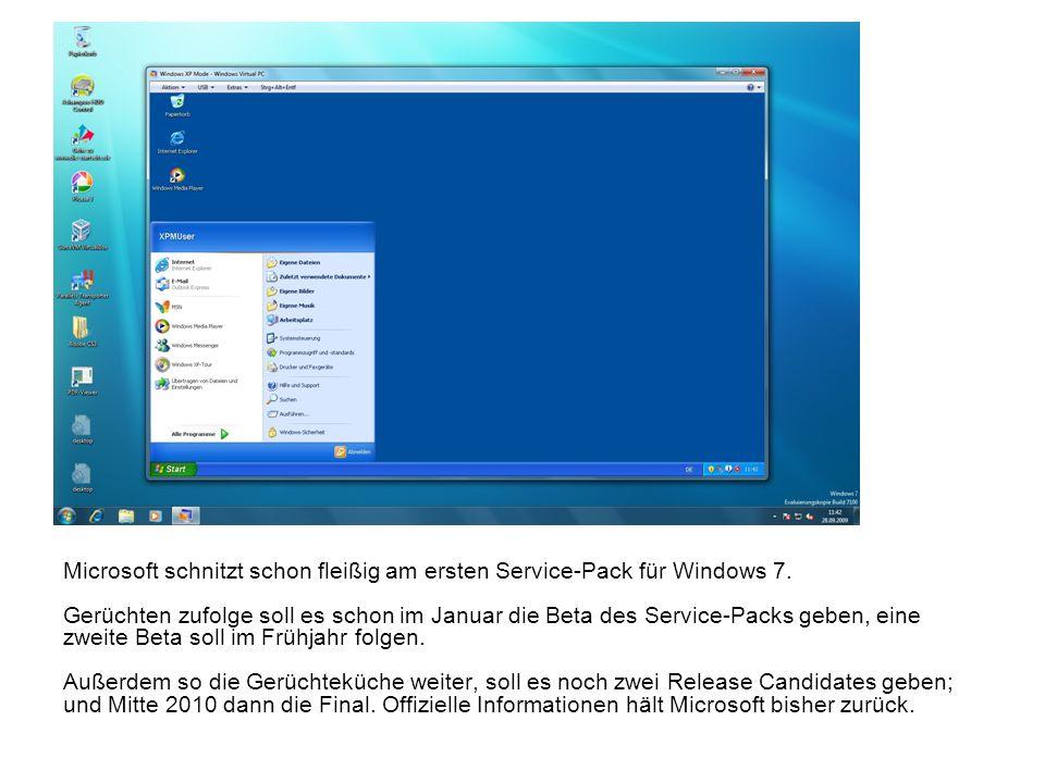 Microsoft schnitzt schon fleißig am ersten Service-Pack für Windows 7. Gerüchten zufolge soll es schon im Januar die Beta des Service-Packs geben, ein
