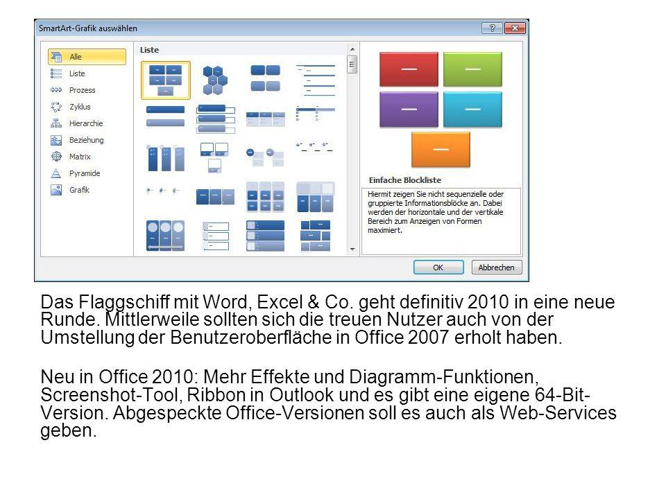 Das Flaggschiff mit Word, Excel & Co. geht definitiv 2010 in eine neue Runde. Mittlerweile sollten sich die treuen Nutzer auch von der Umstellung der