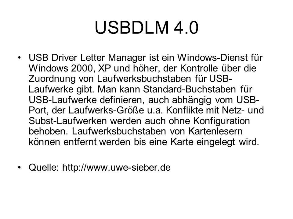 USBDLM 4.0 USB Driver Letter Manager ist ein Windows-Dienst für Windows 2000, XP und höher, der Kontrolle über die Zuordnung von Laufwerksbuchstaben für USB- Laufwerke gibt.