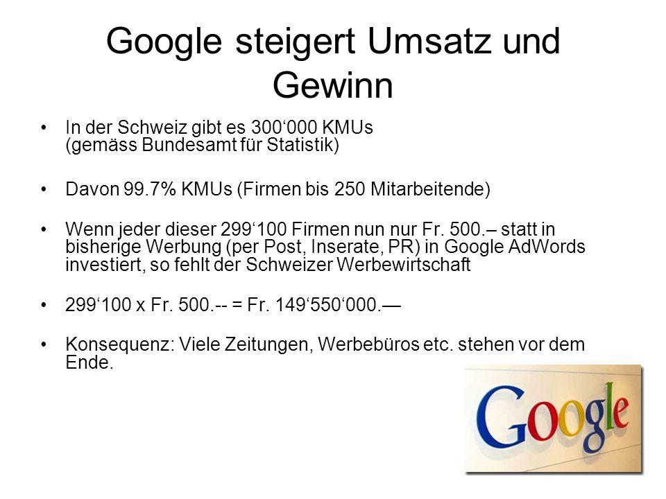 Google steigert Umsatz und Gewinn In der Schweiz gibt es 300000 KMUs (gemäss Bundesamt für Statistik) Davon 99.7% KMUs (Firmen bis 250 Mitarbeitende) Wenn jeder dieser 299100 Firmen nun nur Fr.