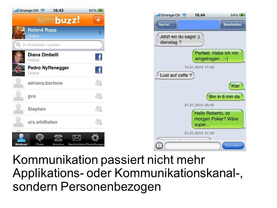 Kommunikation passiert nicht mehr Applikations- oder Kommunikationskanal-, sondern Personenbezogen