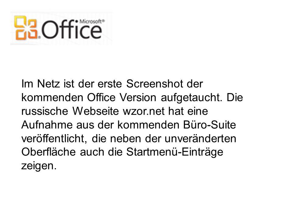 Im Netz ist der erste Screenshot der kommenden Office Version aufgetaucht.