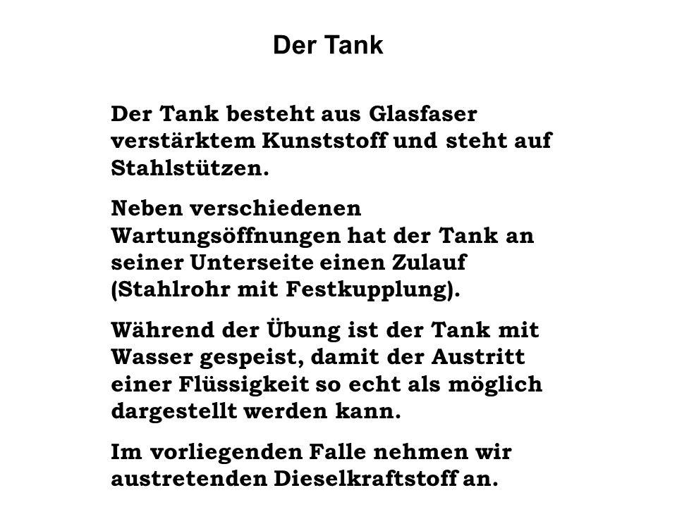 Der Tank Der Tank besteht aus Glasfaser verstärktem Kunststoff und steht auf Stahlstützen. Neben verschiedenen Wartungsöffnungen hat der Tank an seine