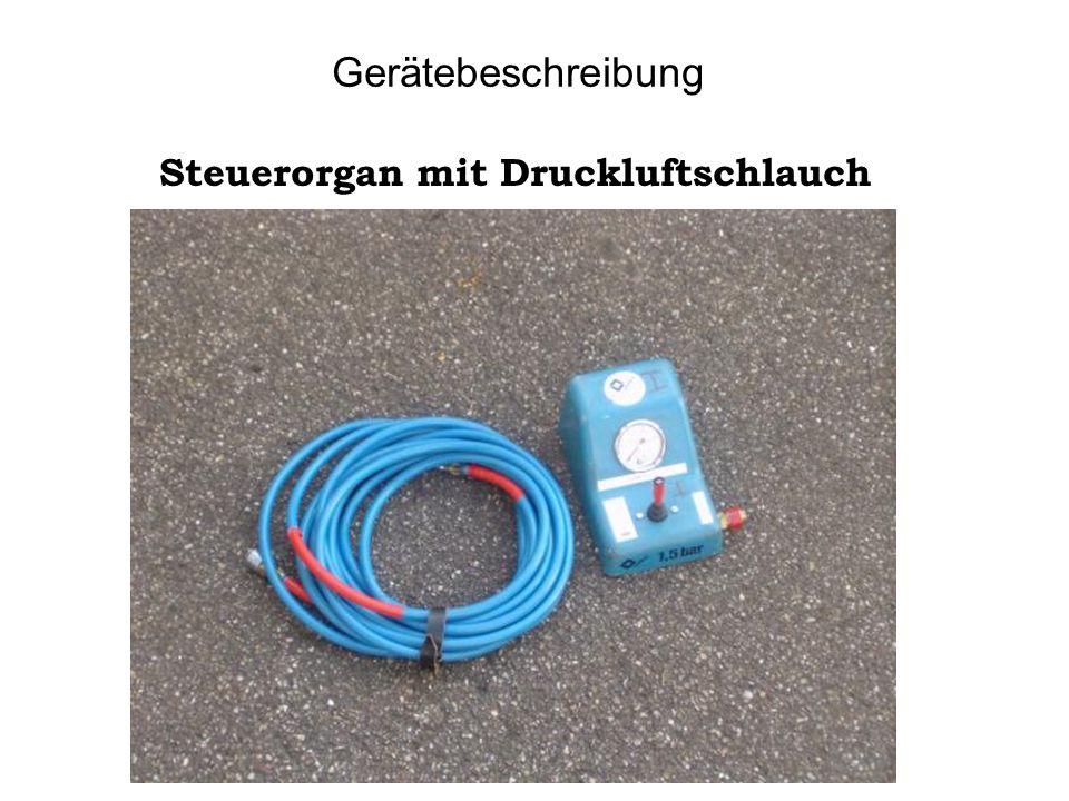 Gerätebeschreibung Pneumatisches Leckdichtkissen mit kurzen Ratschenbändern.