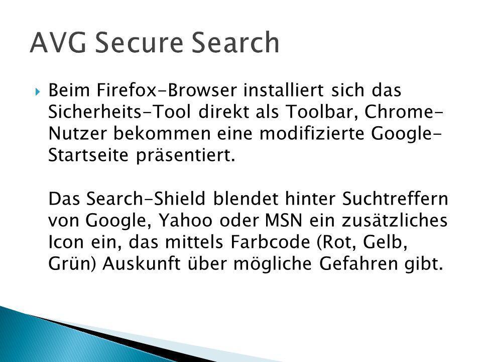 Beim Firefox-Browser installiert sich das Sicherheits-Tool direkt als Toolbar, Chrome- Nutzer bekommen eine modifizierte Google- Startseite präsentiert.