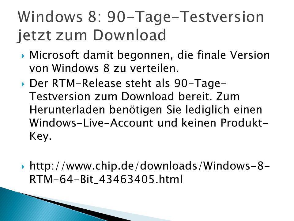 Microsoft damit begonnen, die finale Version von Windows 8 zu verteilen.