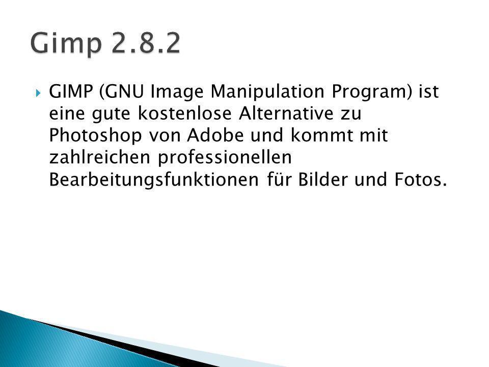 GIMP (GNU Image Manipulation Program) ist eine gute kostenlose Alternative zu Photoshop von Adobe und kommt mit zahlreichen professionellen Bearbeitungsfunktionen für Bilder und Fotos.