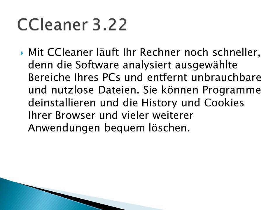 Mit CCleaner läuft Ihr Rechner noch schneller, denn die Software analysiert ausgewählte Bereiche Ihres PCs und entfernt unbrauchbare und nutzlose Dateien.