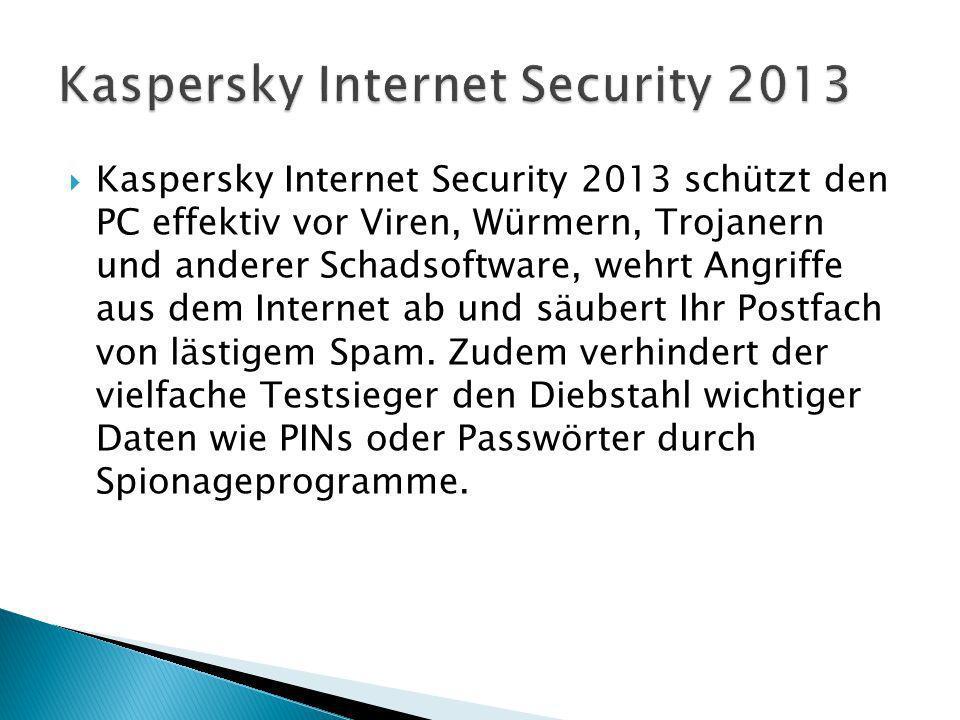 Kaspersky Internet Security 2013 schützt den PC effektiv vor Viren, Würmern, Trojanern und anderer Schadsoftware, wehrt Angriffe aus dem Internet ab und säubert Ihr Postfach von lästigem Spam.