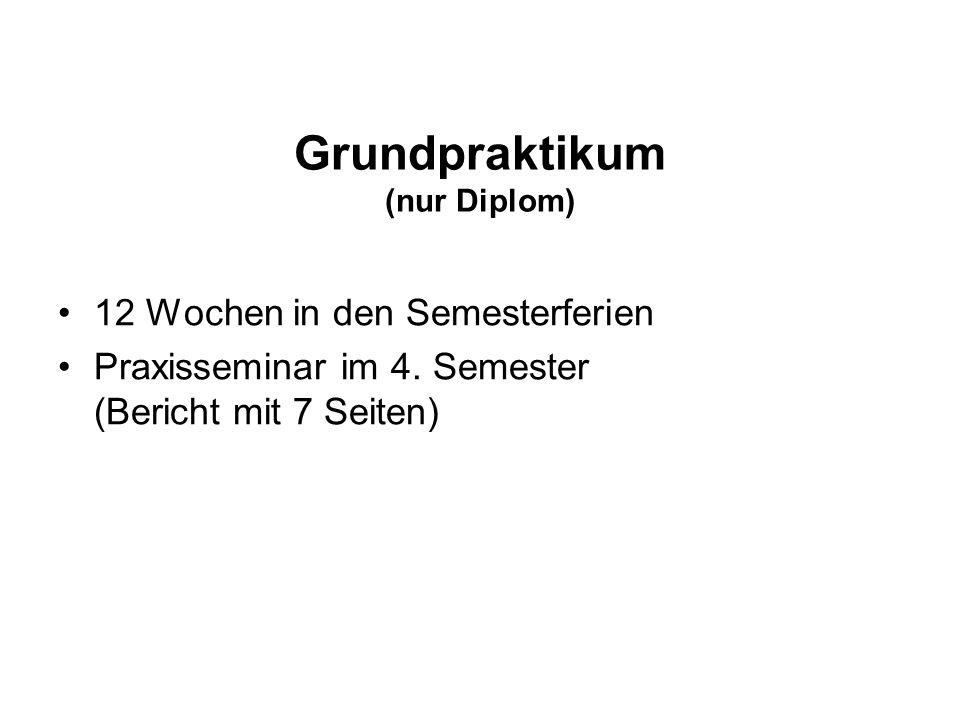 Grundpraktikum (nur Diplom) 12 Wochen in den Semesterferien Praxisseminar im 4.
