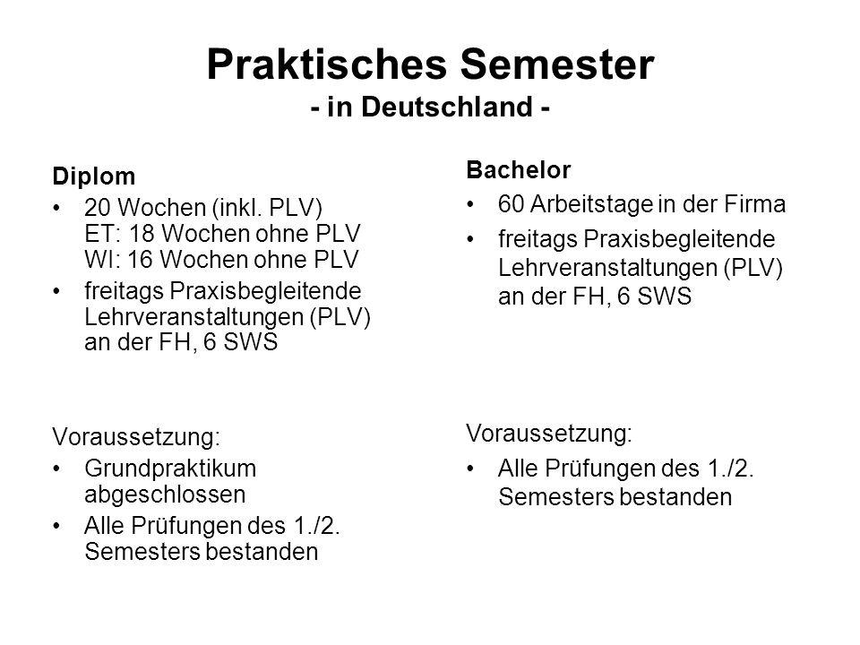 Praktisches Semester - in Deutschland - Diplom 20 Wochen (inkl.