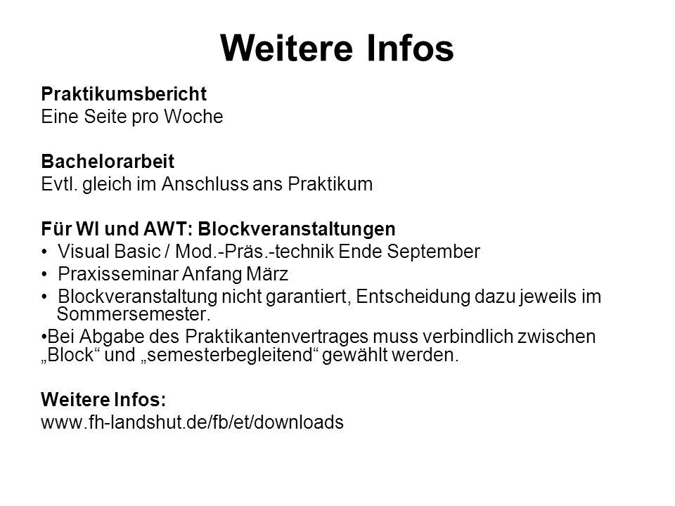 Weitere Infos Praktikumsbericht Eine Seite pro Woche Bachelorarbeit Evtl.