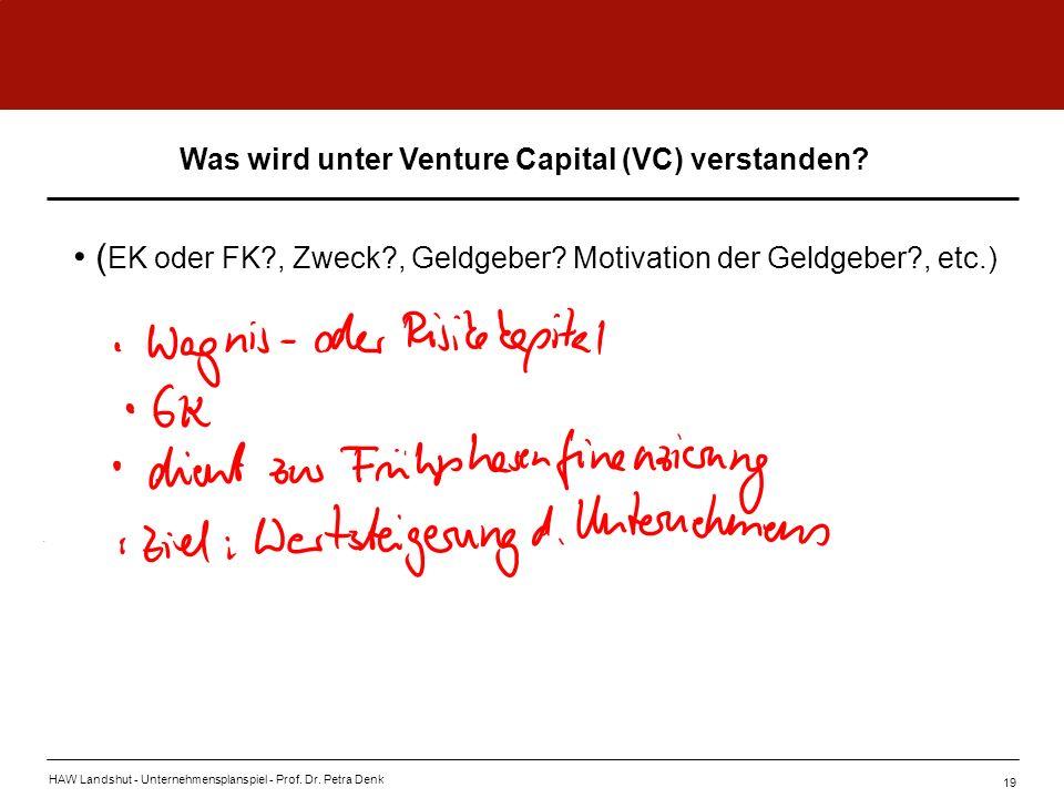 HAW Landshut - Unternehmensplanspiel - Prof. Dr. Petra Denk 19 ( EK oder FK?, Zweck?, Geldgeber? Motivation der Geldgeber?, etc.) Was wird unter Ventu