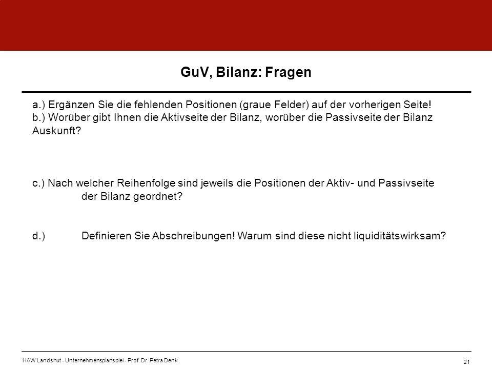 HAW Landshut - Unternehmensplanspiel - Prof. Dr. Petra Denk 21 GuV, Bilanz: Fragen a.) Ergänzen Sie die fehlenden Positionen (graue Felder) auf der vo