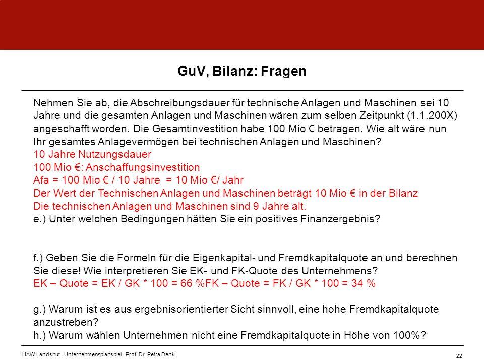 HAW Landshut - Unternehmensplanspiel - Prof. Dr. Petra Denk 22 GuV, Bilanz: Fragen Nehmen Sie ab, die Abschreibungsdauer für technische Anlagen und Ma