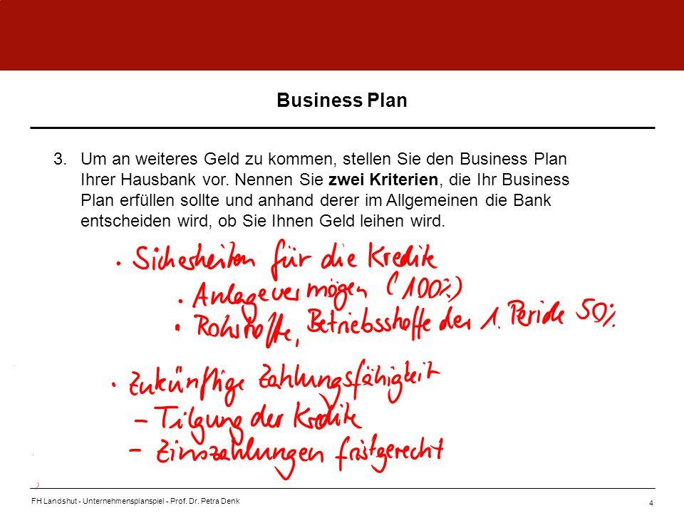 FH Landshut - Unternehmensplanspiel - Prof. Dr. Petra Denk 4 3.Um an weiteres Geld zu kommen, stellen Sie den Business Plan Ihrer Hausbank vor. Nennen