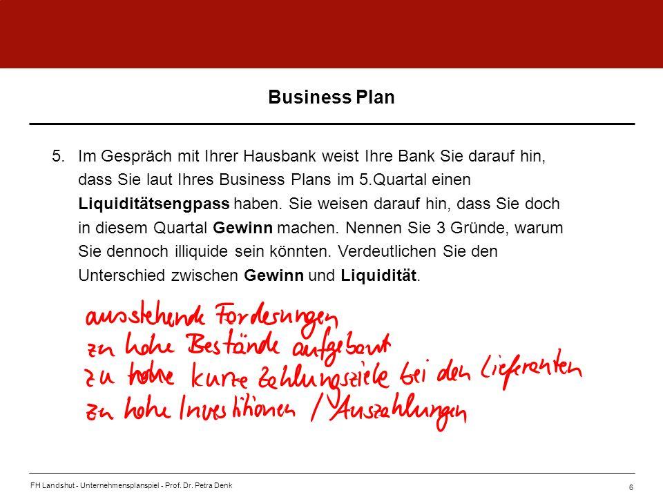 FH Landshut - Unternehmensplanspiel - Prof. Dr. Petra Denk 6 Business Plan 5.Im Gespräch mit Ihrer Hausbank weist Ihre Bank Sie darauf hin, dass Sie l