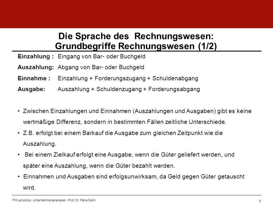 FH Landshut - Unternehmensplanspiel - Prof. Dr. Petra Denk 8 Die Sprache des Rechnungswesen: Grundbegriffe Rechnungswesen (1/2) Einzahlung :Eingang vo