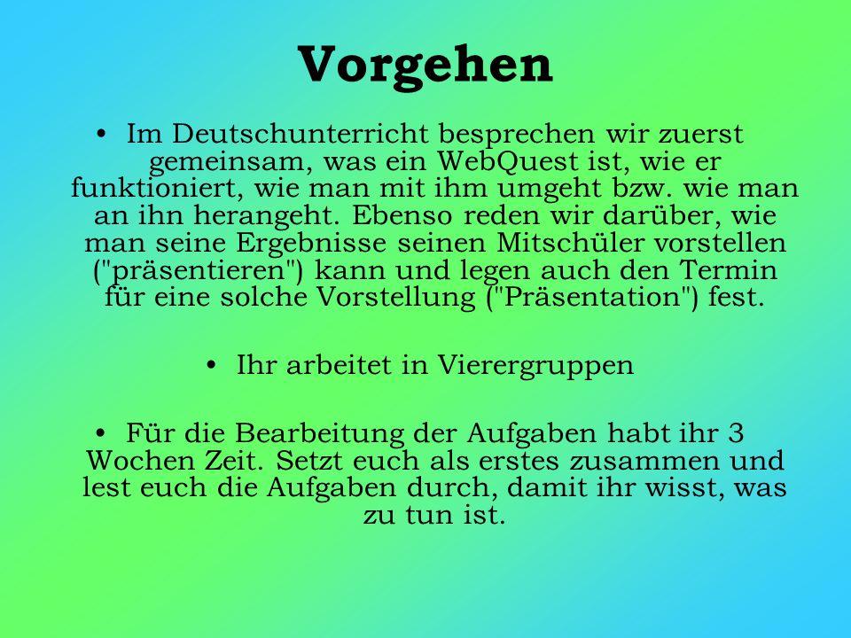 Vorgehen Im Deutschunterricht besprechen wir zuerst gemeinsam, was ein WebQuest ist, wie er funktioniert, wie man mit ihm umgeht bzw.