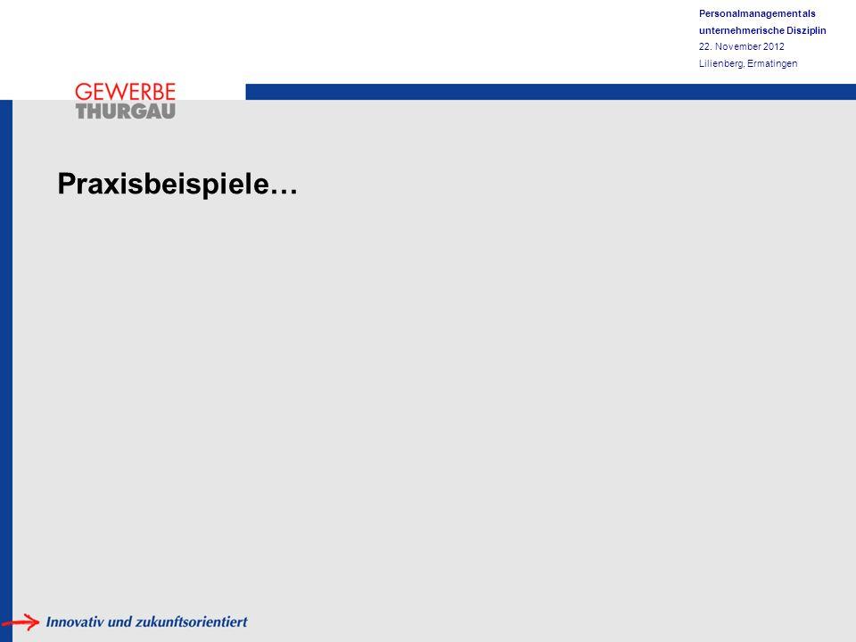 Personalmanagement als unternehmerische Disziplin 22. November 2012 Lilienberg, Ermatingen Praxisbeispiele…