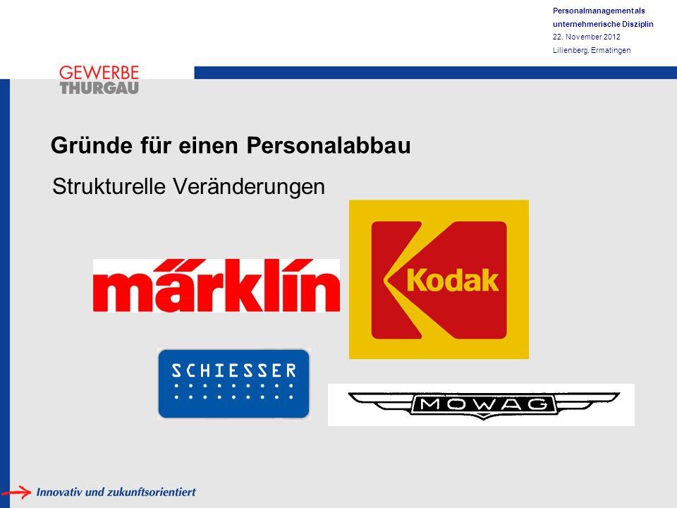 Personalmanagement als unternehmerische Disziplin 22. November 2012 Lilienberg, Ermatingen Gründe für einen Personalabbau Strukturelle Veränderungen