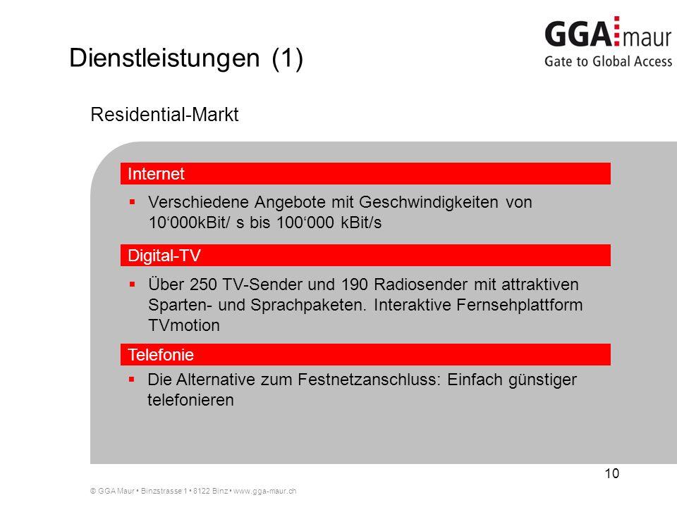 © GGA Maur Binzstrasse 1 8122 Binz www.gga-maur.ch 10 Verschiedene Angebote mit Geschwindigkeiten von 10000kBit/ s bis 100000 kBit/s Die Alternative zum Festnetzanschluss: Einfach günstiger telefonieren Dienstleistungen (1) Internet Telefonie Digital-TV Residential-Markt Über 250 TV-Sender und 190 Radiosender mit attraktiven Sparten- und Sprachpaketen.
