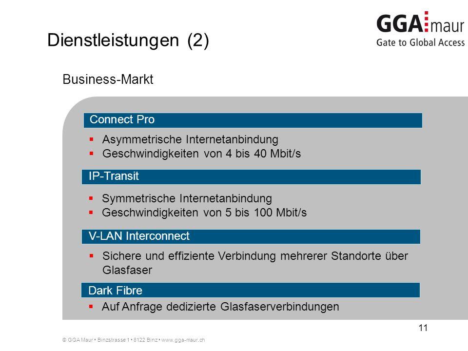 © GGA Maur Binzstrasse 1 8122 Binz www.gga-maur.ch 11 Asymmetrische Internetanbindung Geschwindigkeiten von 4 bis 40 Mbit/s Symmetrische Internetanbindung Geschwindigkeiten von 5 bis 100 Mbit/s IP-Transit Connect Pro Business-Markt V-LAN Interconnect Sichere und effiziente Verbindung mehrerer Standorte über Glasfaser Dark Fibre Auf Anfrage dedizierte Glasfaserverbindungen Dienstleistungen (2)