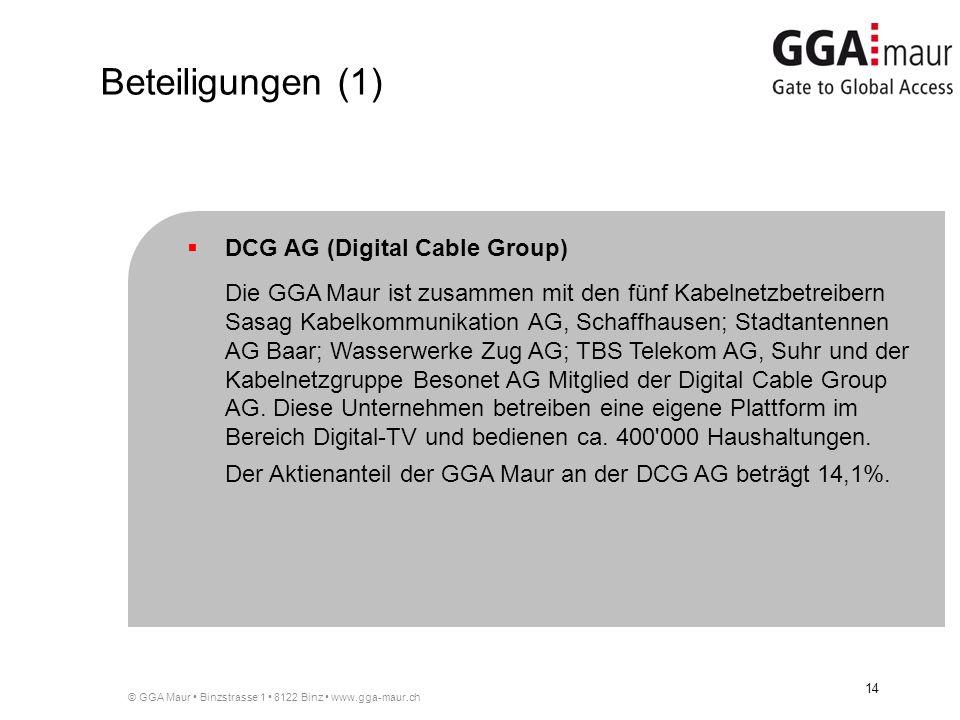 © GGA Maur Binzstrasse 1 8122 Binz www.gga-maur.ch 14 DCG AG (Digital Cable Group) Die GGA Maur ist zusammen mit den fünf Kabelnetzbetreibern Sasag Kabelkommunikation AG, Schaffhausen; Stadtantennen AG Baar; Wasserwerke Zug AG; TBS Telekom AG, Suhr und der Kabelnetzgruppe Besonet AG Mitglied der Digital Cable Group AG.