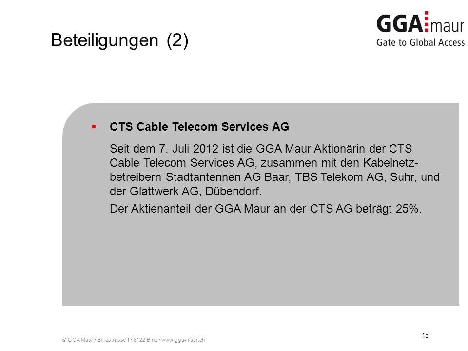 © GGA Maur Binzstrasse 1 8122 Binz www.gga-maur.ch 15 CTS Cable Telecom Services AG Seit dem 7. Juli 2012 ist die GGA Maur Aktionärin der CTS Cable Te
