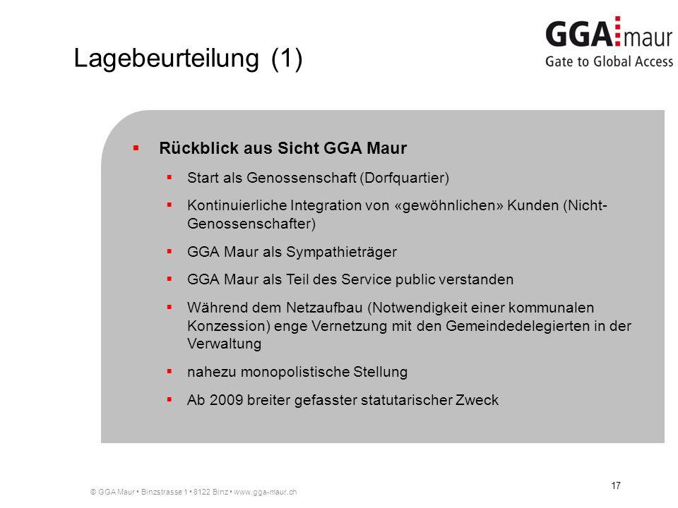 © GGA Maur Binzstrasse 1 8122 Binz www.gga-maur.ch 17 Rückblick aus Sicht GGA Maur Start als Genossenschaft (Dorfquartier) Kontinuierliche Integration