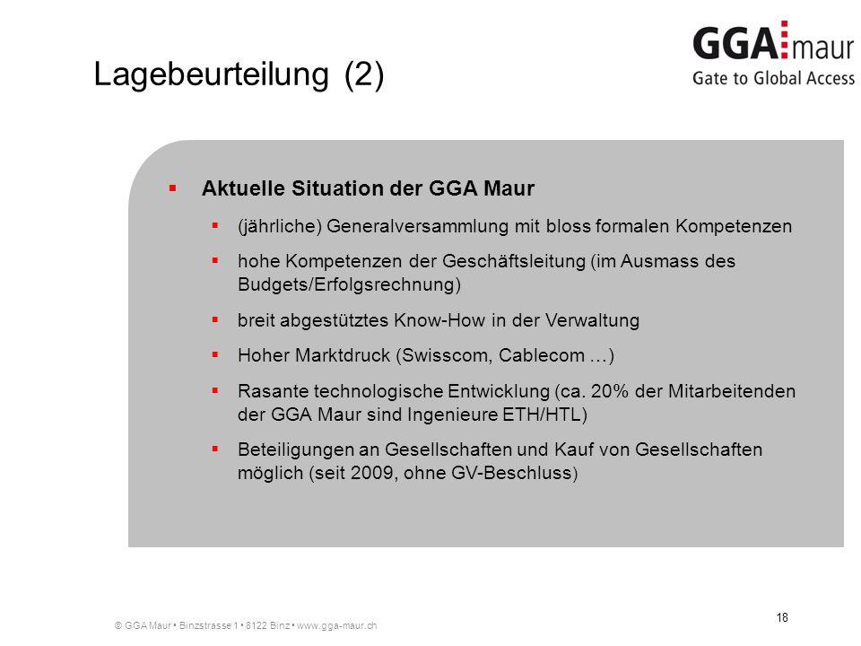 © GGA Maur Binzstrasse 1 8122 Binz www.gga-maur.ch 18 Aktuelle Situation der GGA Maur (jährliche) Generalversammlung mit bloss formalen Kompetenzen hohe Kompetenzen der Geschäftsleitung (im Ausmass des Budgets/Erfolgsrechnung) breit abgestütztes Know-How in der Verwaltung Hoher Marktdruck (Swisscom, Cablecom …) Rasante technologische Entwicklung (ca.