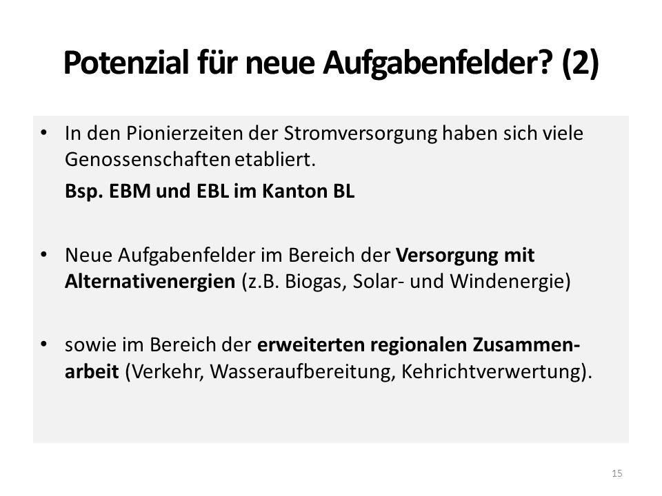 Potenzial für neue Aufgabenfelder? (2) 15 In den Pionierzeiten der Stromversorgung haben sich viele Genossenschaften etabliert. Bsp. EBM und EBL im Ka