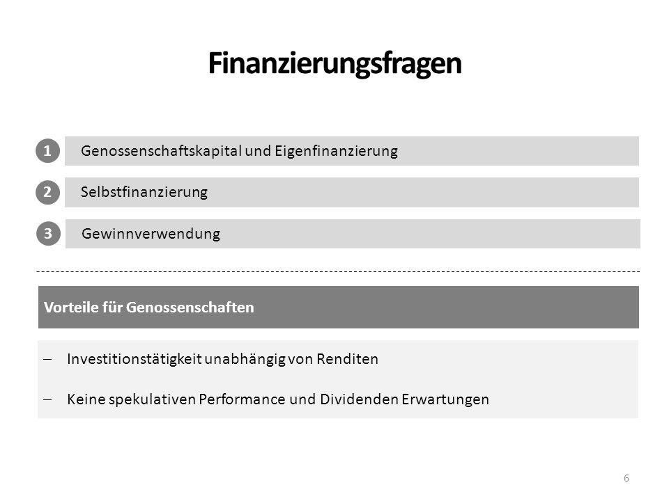 Finanzierungsfragen 6 Genossenschaftskapital und Eigenfinanzierung 1 Selbstfinanzierung 2 Gewinnverwendung 3 Vorteile für Genossenschaften Investition
