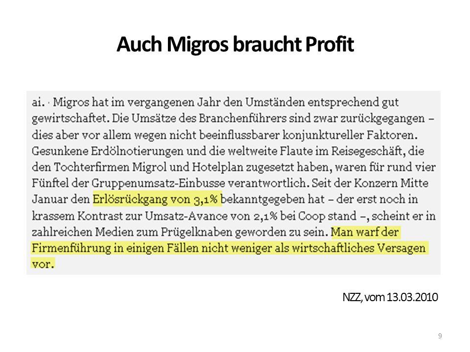Auch Migros braucht Profit 9 NZZ, vom 13.03.2010