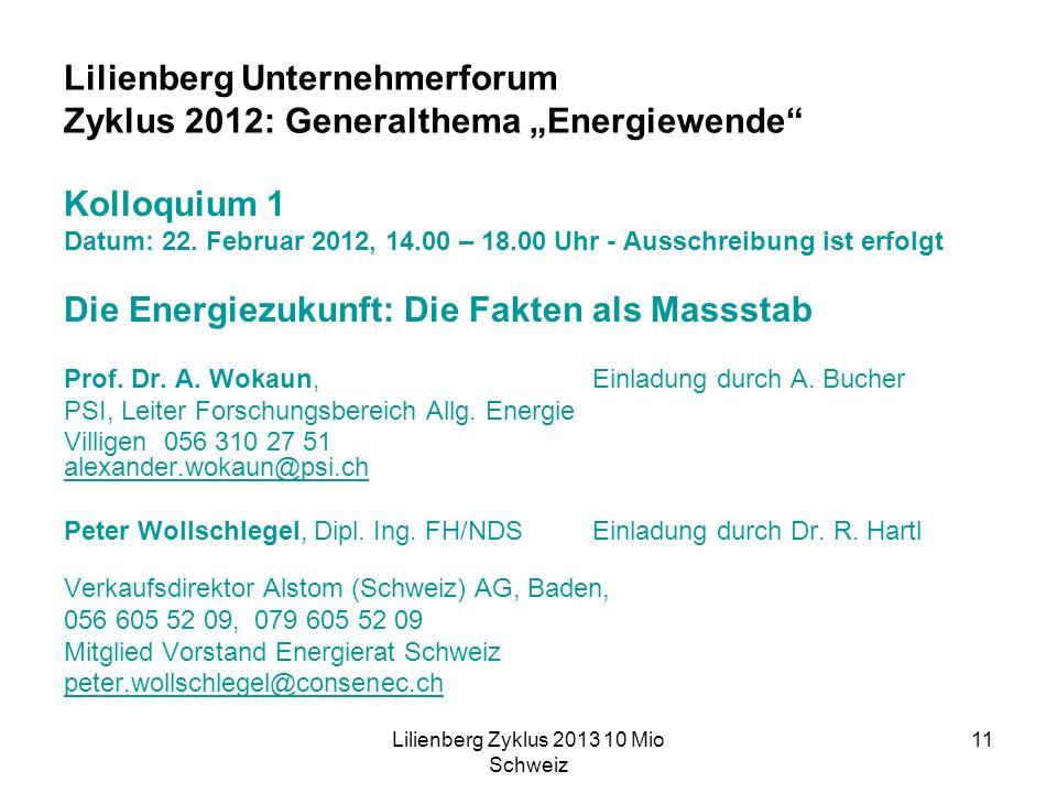 Lilienberg Zyklus 2013 10 Mio Schweiz 11 Lilienberg Unternehmerforum Zyklus 2012: Generalthema Energiewende Kolloquium 1 Datum: 22.