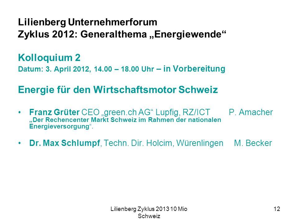 Lilienberg Zyklus 2013 10 Mio Schweiz 12 Lilienberg Unternehmerforum Zyklus 2012: Generalthema Energiewende Kolloquium 2 Datum: 3.