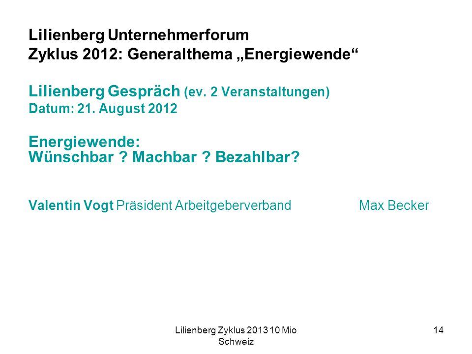 Lilienberg Zyklus 2013 10 Mio Schweiz 14 Lilienberg Unternehmerforum Zyklus 2012: Generalthema Energiewende Lilienberg Gespräch (ev.