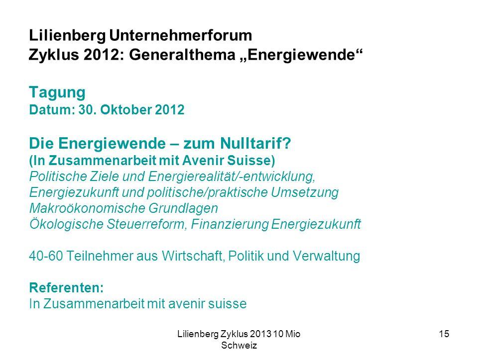 Lilienberg Zyklus 2013 10 Mio Schweiz 15 Lilienberg Unternehmerforum Zyklus 2012: Generalthema Energiewende Tagung Datum: 30.