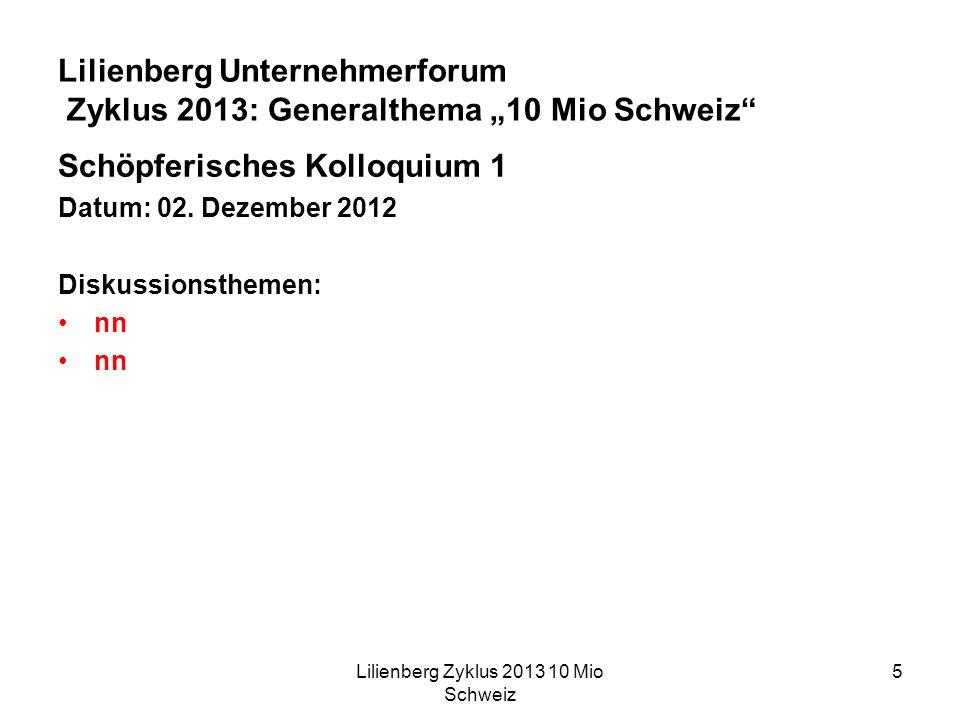 Lilienberg Zyklus 2013 10 Mio Schweiz 5 Lilienberg Unternehmerforum Zyklus 2013: Generalthema 10 Mio Schweiz Schöpferisches Kolloquium 1 Datum: 02.