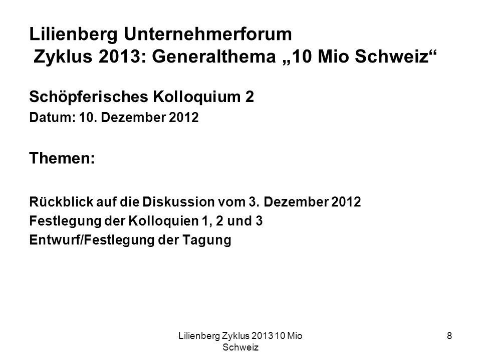 Lilienberg Zyklus 2013 10 Mio Schweiz 8 Lilienberg Unternehmerforum Zyklus 2013: Generalthema 10 Mio Schweiz Schöpferisches Kolloquium 2 Datum: 10.
