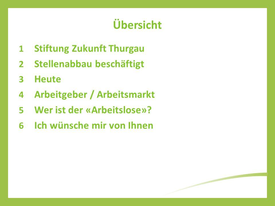 Übersicht 1 Stiftung Zukunft Thurgau 2 Stellenabbau beschäftigt 3 Heute 4 Arbeitgeber / Arbeitsmarkt 5 Wer ist der «Arbeitslose»? 6 Ich wünsche mir vo
