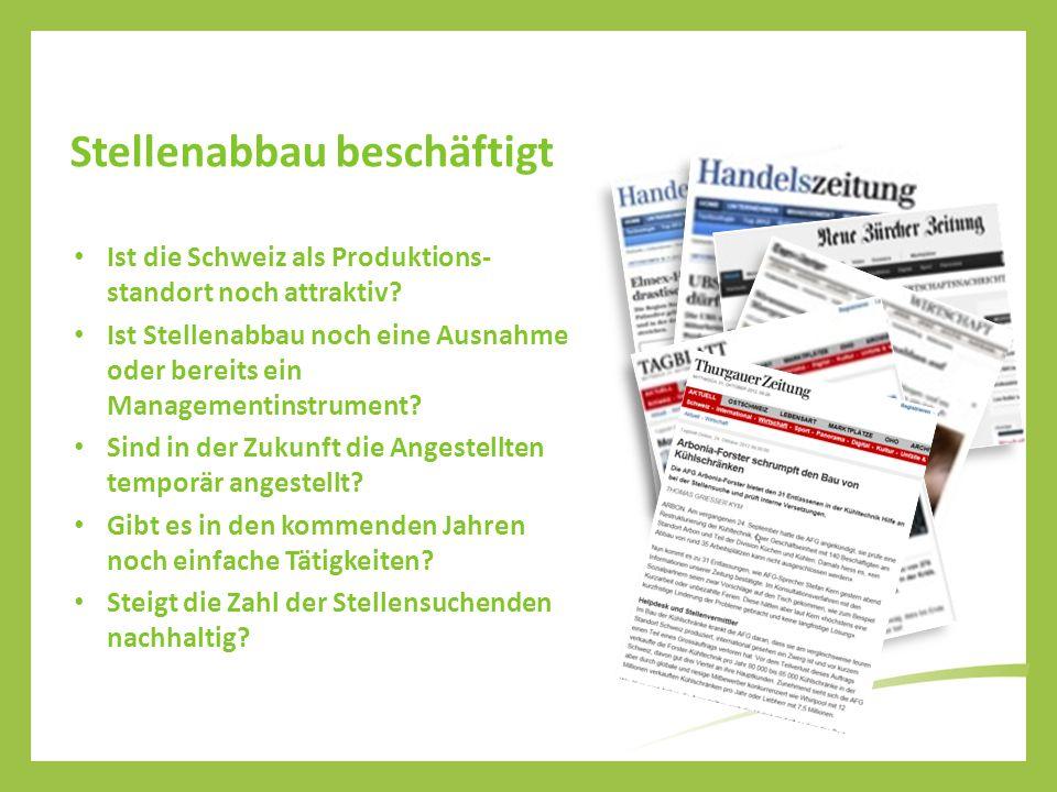 Stellenabbau beschäftigt Ist die Schweiz als Produktions- standort noch attraktiv? Ist Stellenabbau noch eine Ausnahme oder bereits ein Managementinst