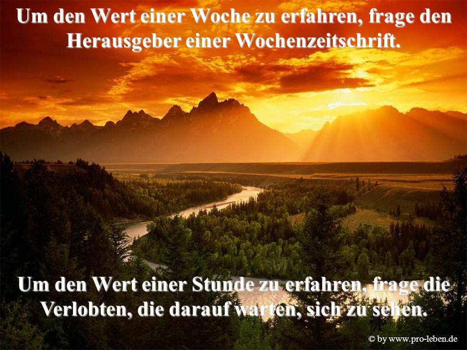 © by www.pro-leben.de Um den Wert einer Woche zu erfahren, frage den Herausgeber einer Wochenzeitschrift.
