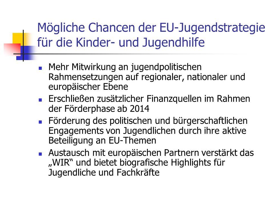 Mögliche Chancen der EU-Jugendstrategie für die Kinder- und Jugendhilfe Mehr Mitwirkung an jugendpolitischen Rahmensetzungen auf regionaler, nationaler und europäischer Ebene Erschließen zusätzlicher Finanzquellen im Rahmen der Förderphase ab 2014 Förderung des politischen und bürgerschaftlichen Engagements von Jugendlichen durch ihre aktive Beteiligung an EU-Themen Austausch mit europäischen Partnern verstärkt das WIR und bietet biografische Highlights für Jugendliche und Fachkräfte